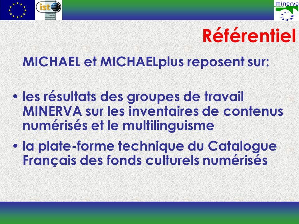 MICHAEL et MICHAELplus reposent sur: les résultats des groupes de travail MINERVA sur les inventaires de contenus numérisés et le multilinguisme la plate-forme technique du Catalogue Français des fonds culturels numérisés Référentiel