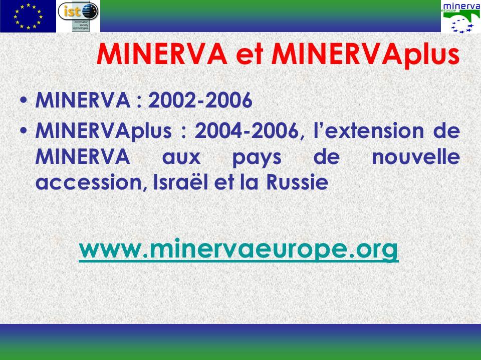 MINERVA et MINERVAplus MINERVA : 2002-2006 MINERVAplus : 2004-2006, lextension de MINERVA aux pays de nouvelle accession, Israël et la Russie www.minervaeurope.org