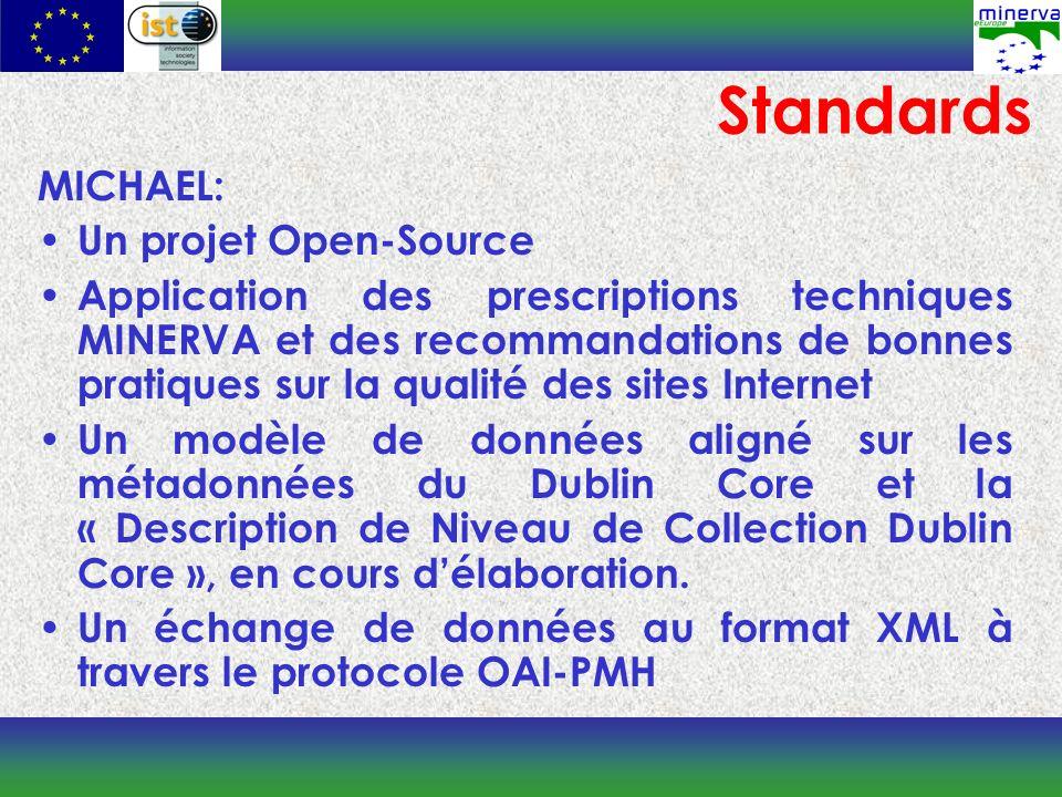 MICHAEL: Un projet Open-Source Application des prescriptions techniques MINERVA et des recommandations de bonnes pratiques sur la qualité des sites Internet Un modèle de données aligné sur les métadonnées du Dublin Core et la « Description de Niveau de Collection Dublin Core », en cours délaboration.