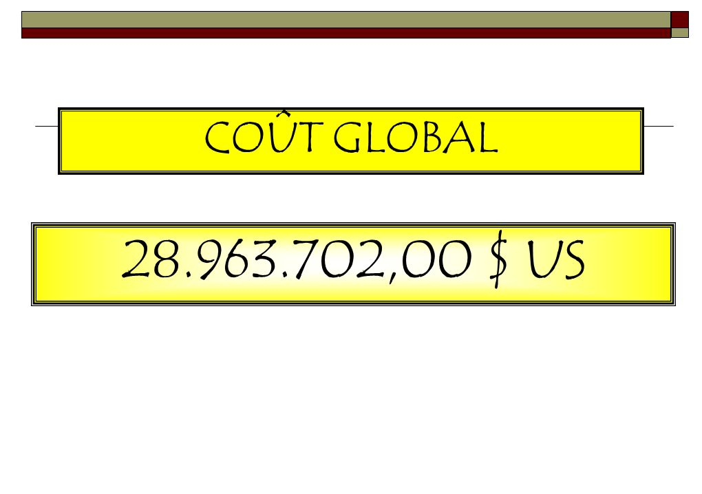 B. COÛT TOTAL AMENAGEMENT ET EQUIPEMENT SERIEDESIGNATIONCOÛT 01CBR KINDU 3 633 752,50 $ US 02CBR KAMINA 3 328 452,00 $ US 03CBR MBANDAKA 3 466 058,50