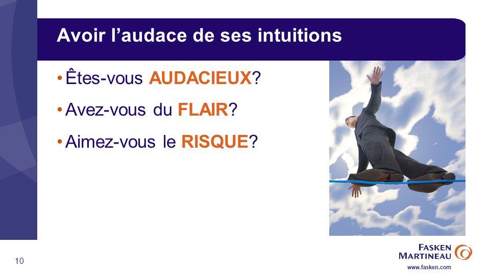 10 Avoir laudace de ses intuitions Êtes-vous AUDACIEUX Avez-vous du FLAIR Aimez-vous le RISQUE