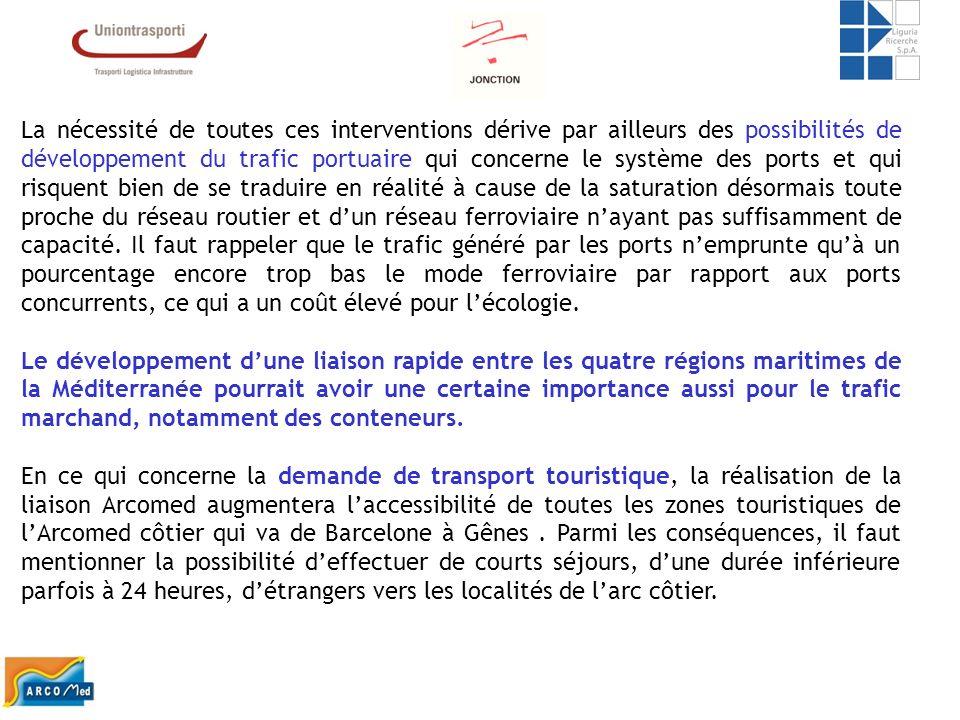 La nécessité de toutes ces interventions dérive par ailleurs des possibilités de développement du trafic portuaire qui concerne le système des ports e