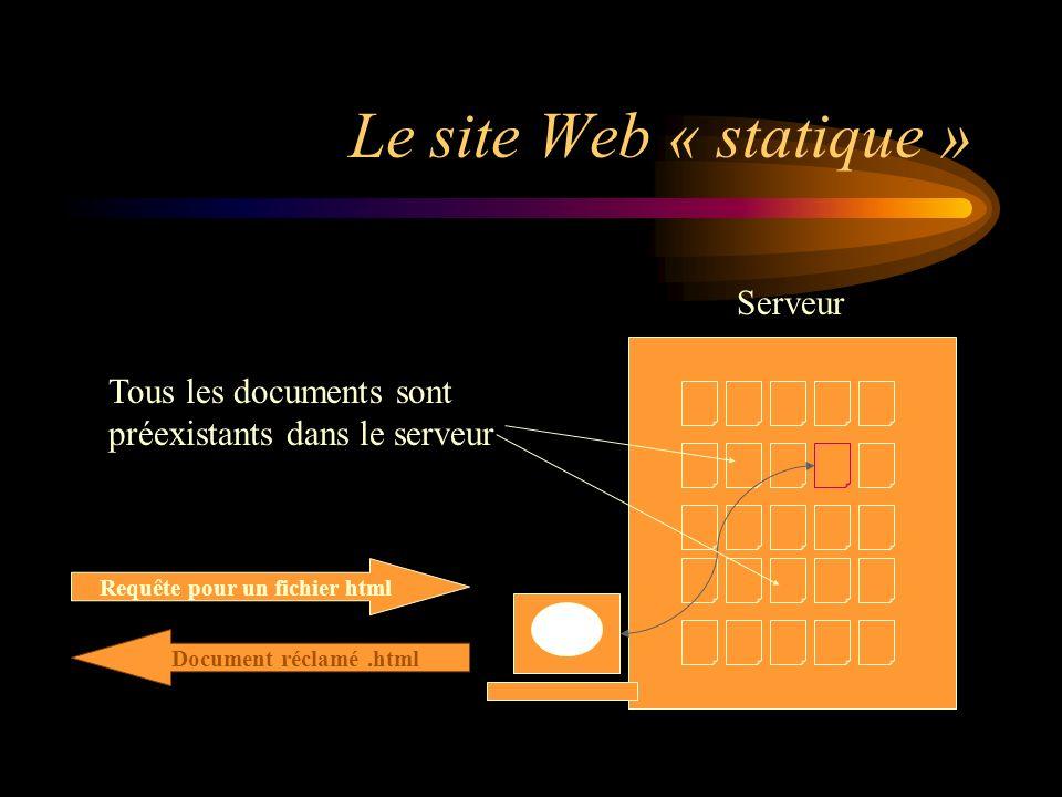 Le site Web « statique » Serveur Requête pour un fichier html Document réclamé.html Tous les documents sont préexistants dans le serveur
