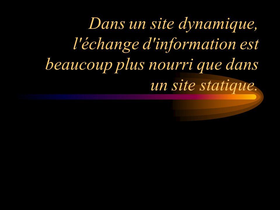 Dans un site dynamique, l échange d information est beaucoup plus nourri que dans un site statique.