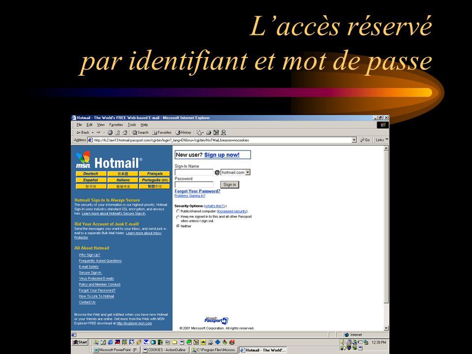 Laccès réservé par identifiant et mot de passe