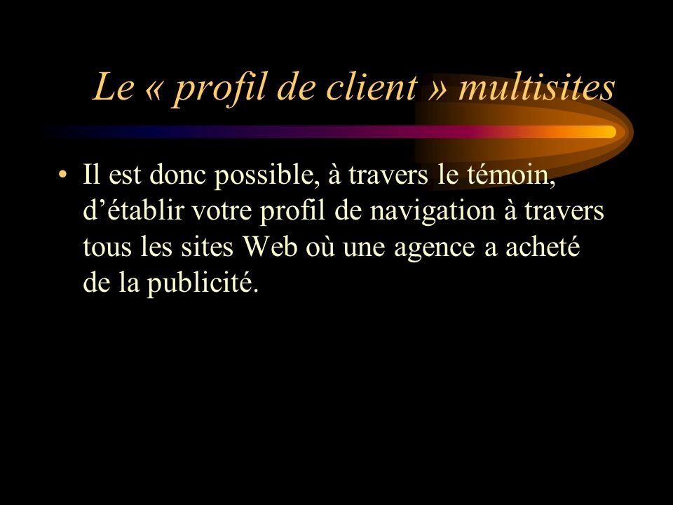 Le « profil de client » multisites Il est donc possible, à travers le témoin, détablir votre profil de navigation à travers tous les sites Web où une agence a acheté de la publicité.