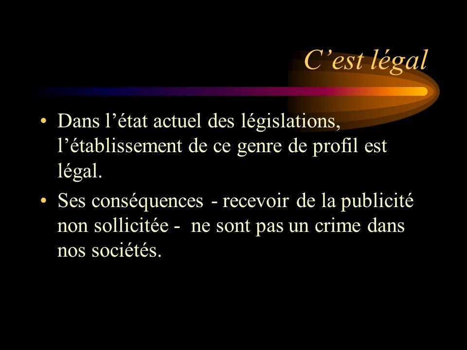 Cest légal Dans létat actuel des législations, létablissement de ce genre de profil est légal.