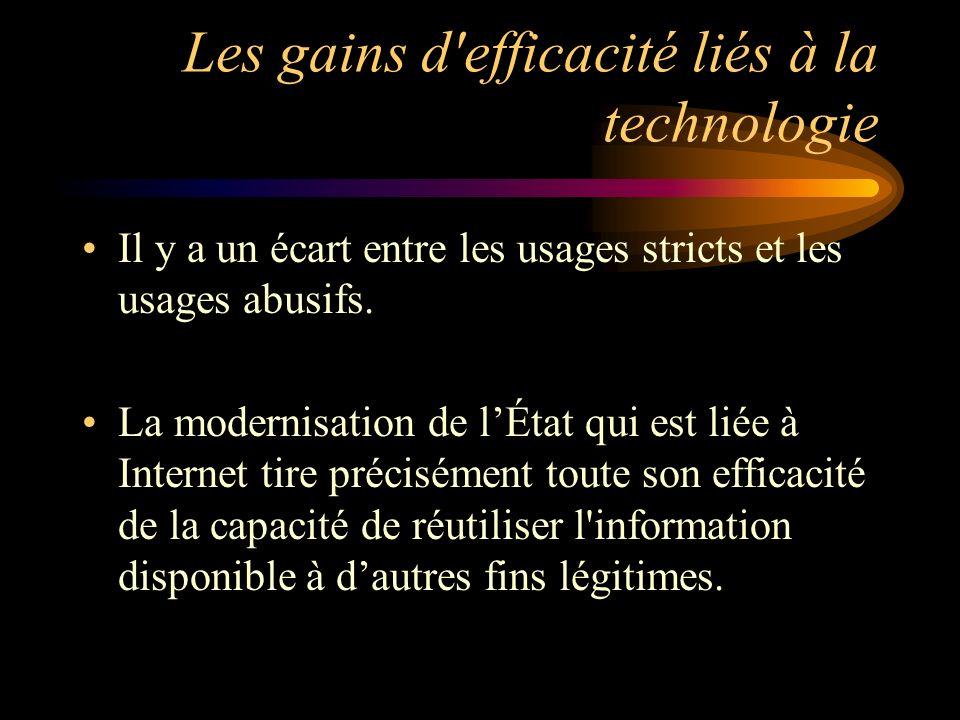 Les gains d efficacité liés à la technologie Il y a un écart entre les usages stricts et les usages abusifs.