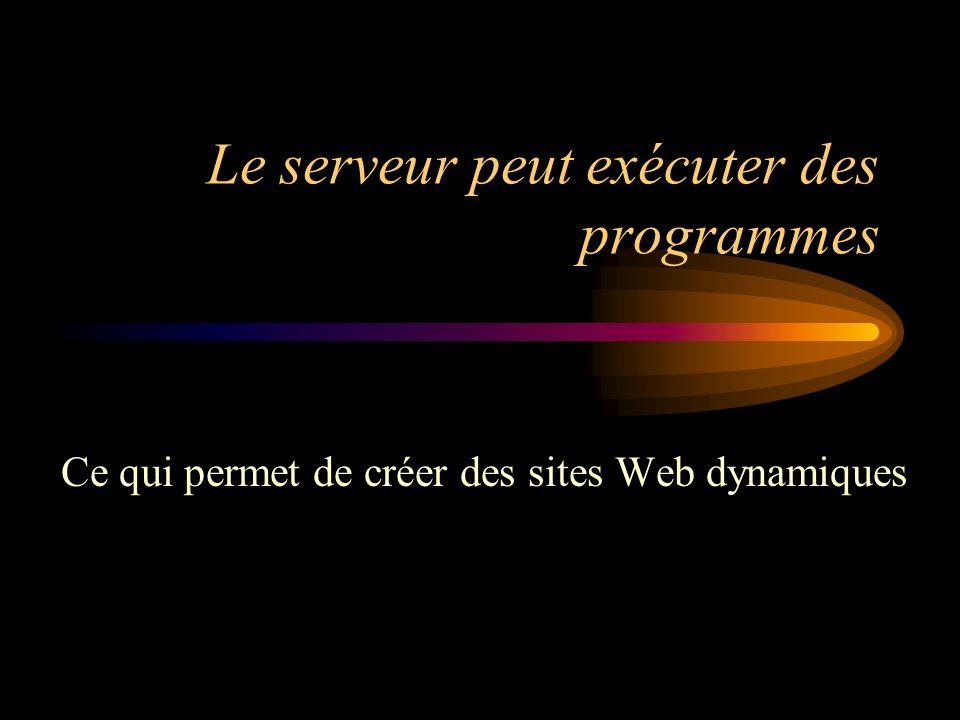 Le serveur peut exécuter des programmes Ce qui permet de créer des sites Web dynamiques