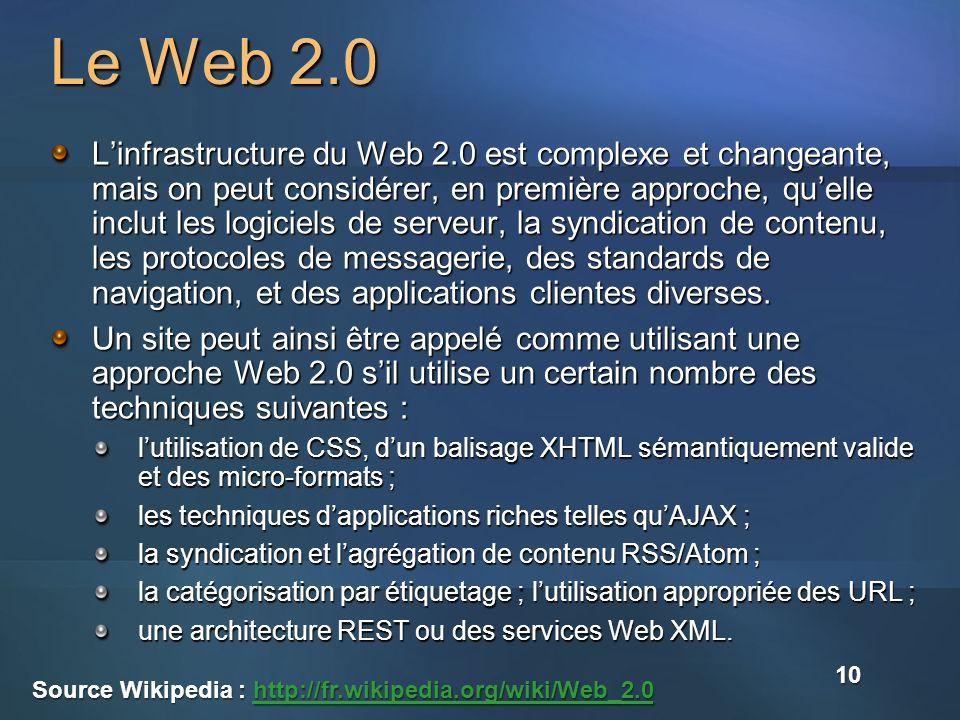 Le Web 2.0 Linfrastructure du Web 2.0 est complexe et changeante, mais on peut considérer, en première approche, quelle inclut les logiciels de serveur, la syndication de contenu, les protocoles de messagerie, des standards de navigation, et des applications clientes diverses.