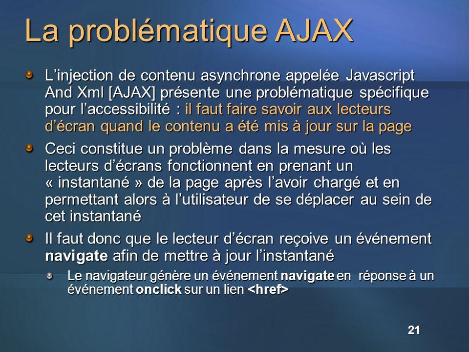 La problématique AJAX Linjection de contenu asynchrone appelée Javascript And Xml [AJAX] présente une problématique spécifique pour laccessibilité : il faut faire savoir aux lecteurs décran quand le contenu a été mis à jour sur la page Ceci constitue un problème dans la mesure où les lecteurs décrans fonctionnent en prenant un « instantané » de la page après lavoir chargé et en permettant alors à lutilisateur de se déplacer au sein de cet instantané Il faut donc que le lecteur décran reçoive un événement navigate afin de mettre à jour linstantané Le navigateur génère un événement navigate en réponse à un événement onclick sur un lien Le navigateur génère un événement navigate en réponse à un événement onclick sur un lien 21
