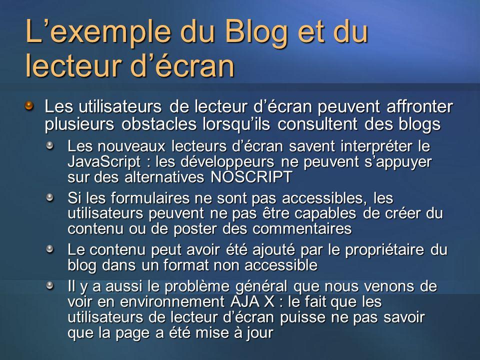 Lexemple du Blog et du lecteur décran Les utilisateurs de lecteur décran peuvent affronter plusieurs obstacles lorsquils consultent des blogs Les nouv