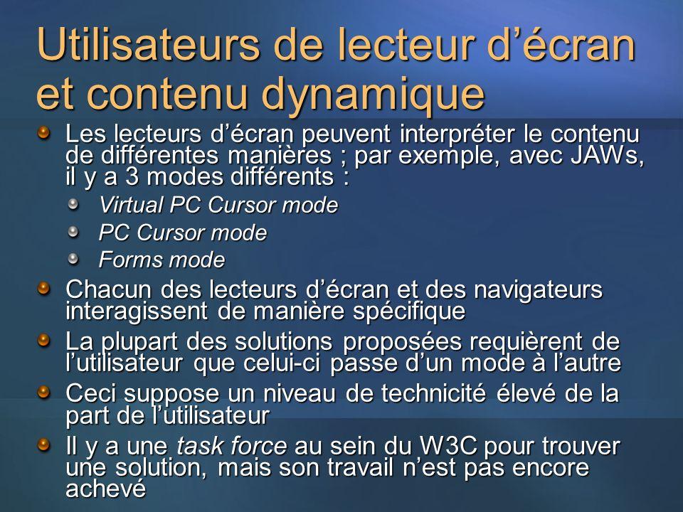 Utilisateurs de lecteur décran et contenu dynamique Les lecteurs décran peuvent interpréter le contenu de différentes manières ; par exemple, avec JAW