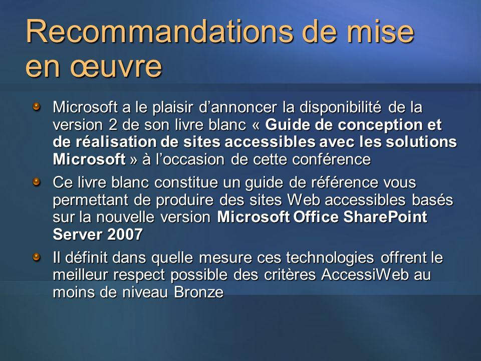 Recommandations de mise en œuvre Microsoft a le plaisir dannoncer la disponibilité de la version 2 de son livre blanc « Guide de conception et de réal