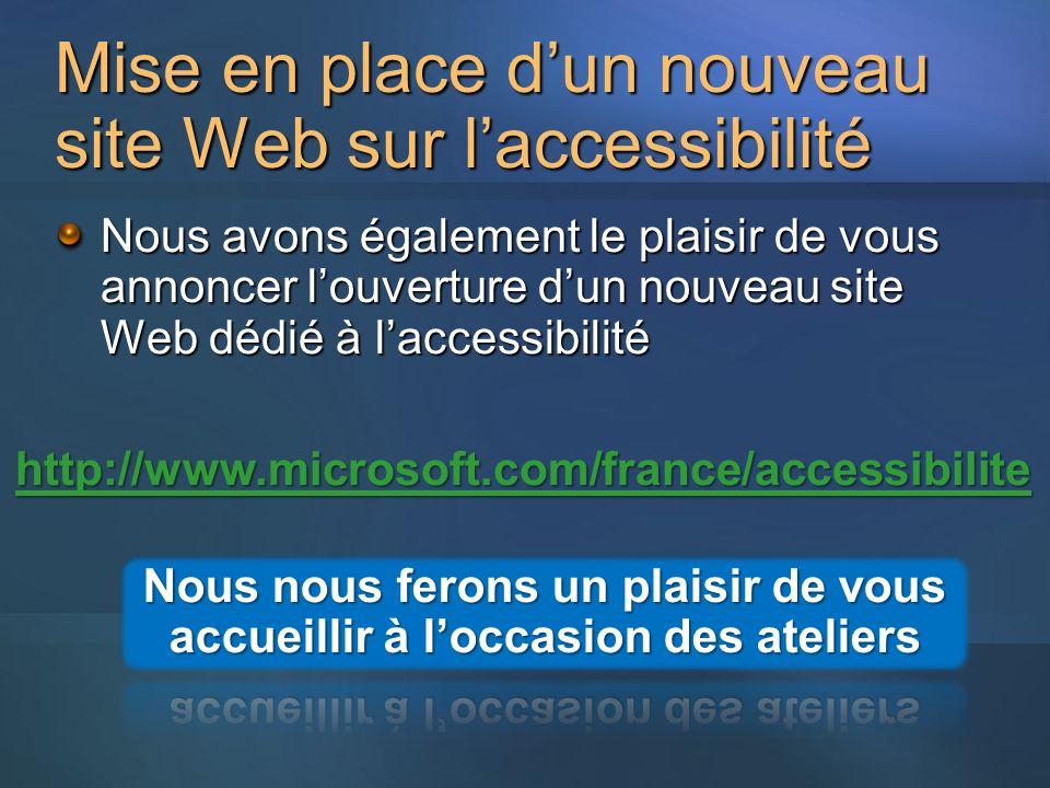 Mise en place dun nouveau site Web sur laccessibilité Nous avons également le plaisir de vous annoncer louverture dun nouveau site Web dédié à laccessibilité http://www.microsoft.com/france/accessibilite