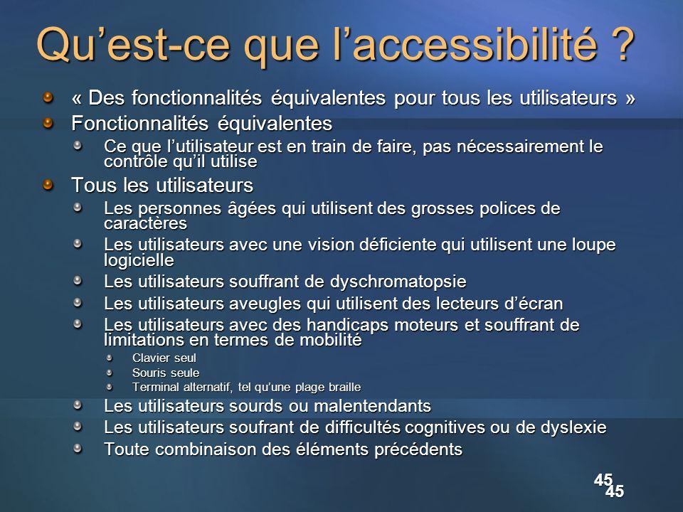 45 Quest-ce que laccessibilité ? « Des fonctionnalités équivalentes pour tous les utilisateurs » Fonctionnalités équivalentes Ce que lutilisateur est