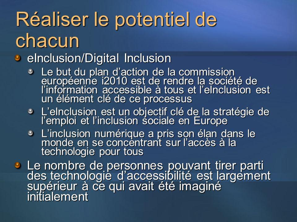 Réaliser le potentiel de chacun eInclusion/Digital Inclusion Le but du plan daction de la commission européenne i2010 est de rendre la société de linformation accessible à tous et leInclusion est un élément clé de ce processus LeInclusion est un objectif clé de la stratégie de lemploi et linclusion sociale en Europe Linclusion numérique a pris son élan dans le monde en se concentrant sur laccès à la technologie pour tous Le nombre de personnes pouvant tirer parti des technologie daccessibilité est largement supérieur à ce qui avait été imaginé initialement