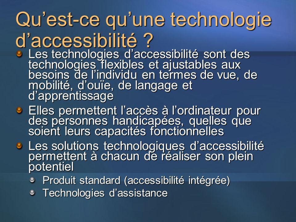 Quest-ce quune technologie daccessibilité ? Les technologies daccessibilité sont des technologies flexibles et ajustables aux besoins de lindividu en
