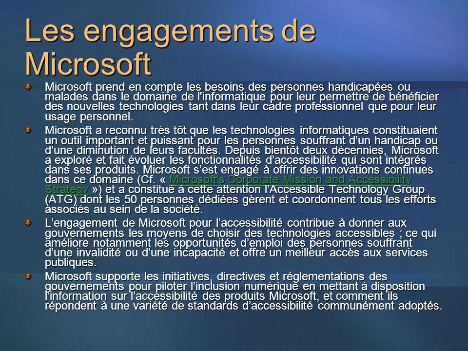Les engagements de Microsoft Microsoft prend en compte les besoins des personnes handicapées ou malades dans le domaine de l informatique pour leur permettre de bénéficier des nouvelles technologies tant dans leur cadre professionnel que pour leur usage personnel.