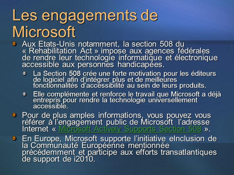 Les engagements de Microsoft Aux Etats-Unis notamment, la section 508 du « Rehabilitation Act » impose aux agences fédérales de rendre leur technologie informatique et électronique accessible aux personnes handicapées.