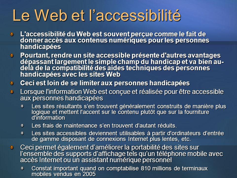 Le Web et laccessibilité L accessibilité du Web est souvent perçue comme le fait de donner accès aux contenus numériques pour les personnes handicapées Pourtant, rendre un site accessible présente d autres avantages dépassant largement le simple champ du handicap et va bien au- delà de la compatibilité des aides techniques des personnes handicapées avec les sites Web Ceci est loin de se limiter aux personnes handicapées Lorsque l information Web est conçue et réalisée pour être accessible aux personnes handicapées Les sites résultants sen trouvent généralement construits de manière plus logique et mettent l accent sur le contenu plutôt que sur la fourniture d information Les frais de maintenance sen trouvent dautant réduits.