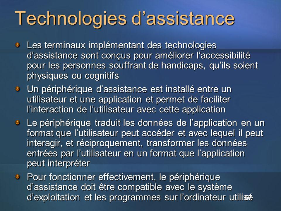 Les terminaux implémentant des technologies dassistance sont conçus pour améliorer laccessibilité pour les personnes souffrant de handicaps, quils soi