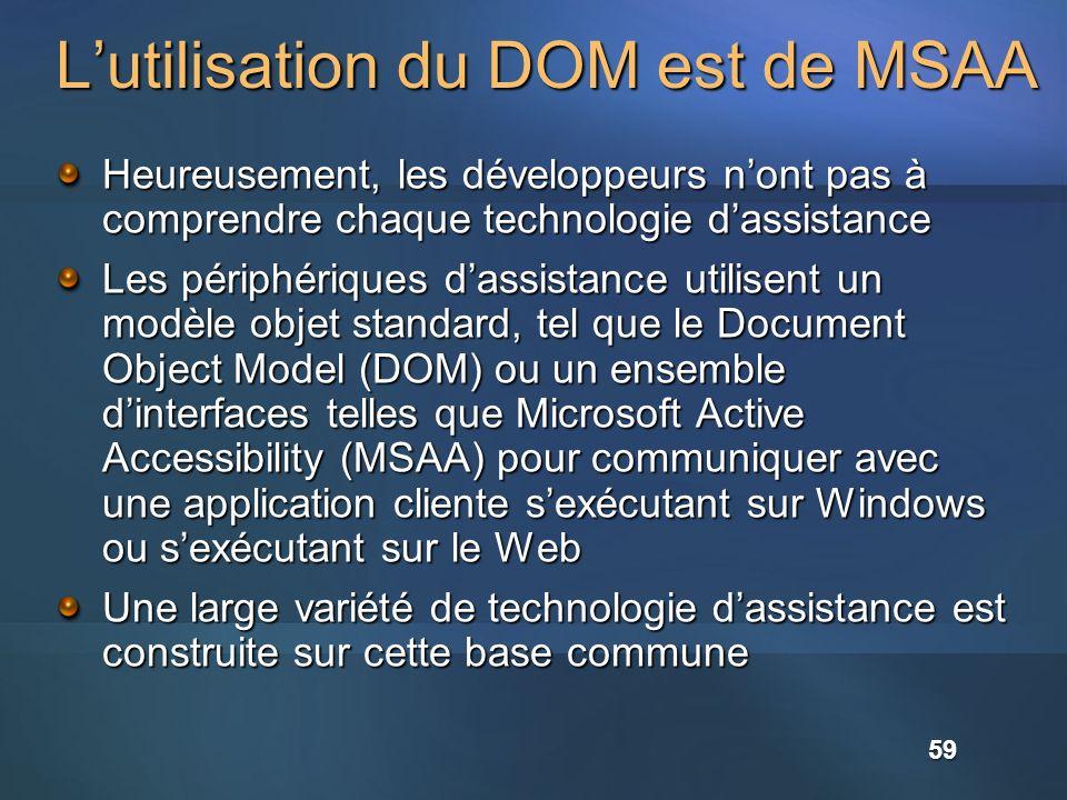 Lutilisation du DOM est de MSAA Heureusement, les développeurs nont pas à comprendre chaque technologie dassistance Les périphériques dassistance util