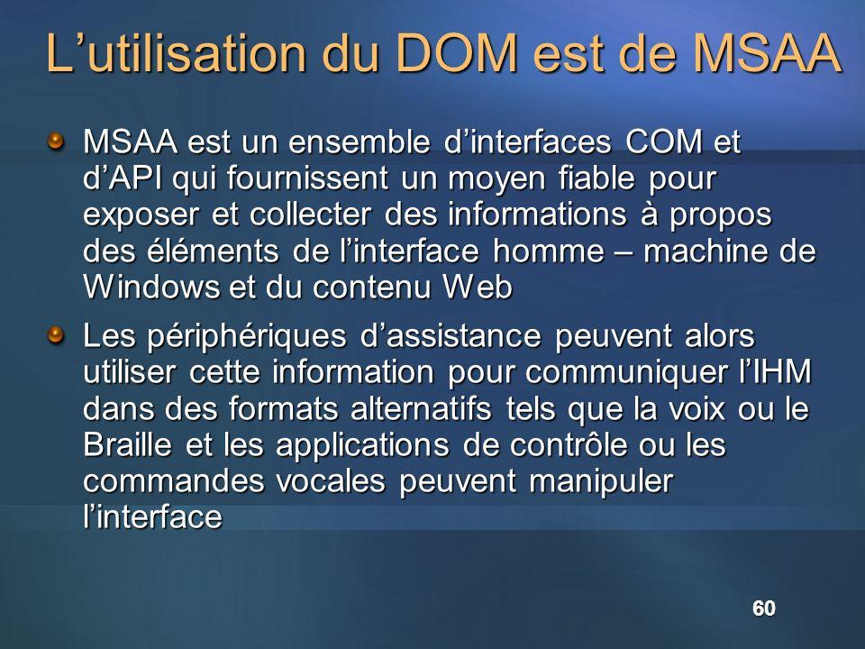 Lutilisation du DOM est de MSAA MSAA est un ensemble dinterfaces COM et dAPI qui fournissent un moyen fiable pour exposer et collecter des information