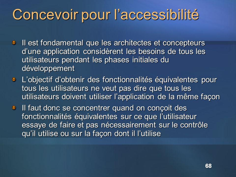 Concevoir pour laccessibilité Il est fondamental que les architectes et concepteurs dune application considèrent les besoins de tous les utilisateurs