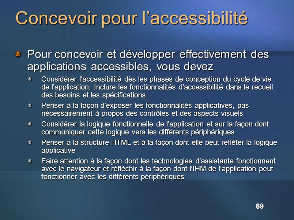 Concevoir pour laccessibilité Pour concevoir et développer effectivement des applications accessibles, vous devez Considérer laccessibilité dès les phases de conception du cycle de vie de lapplication.