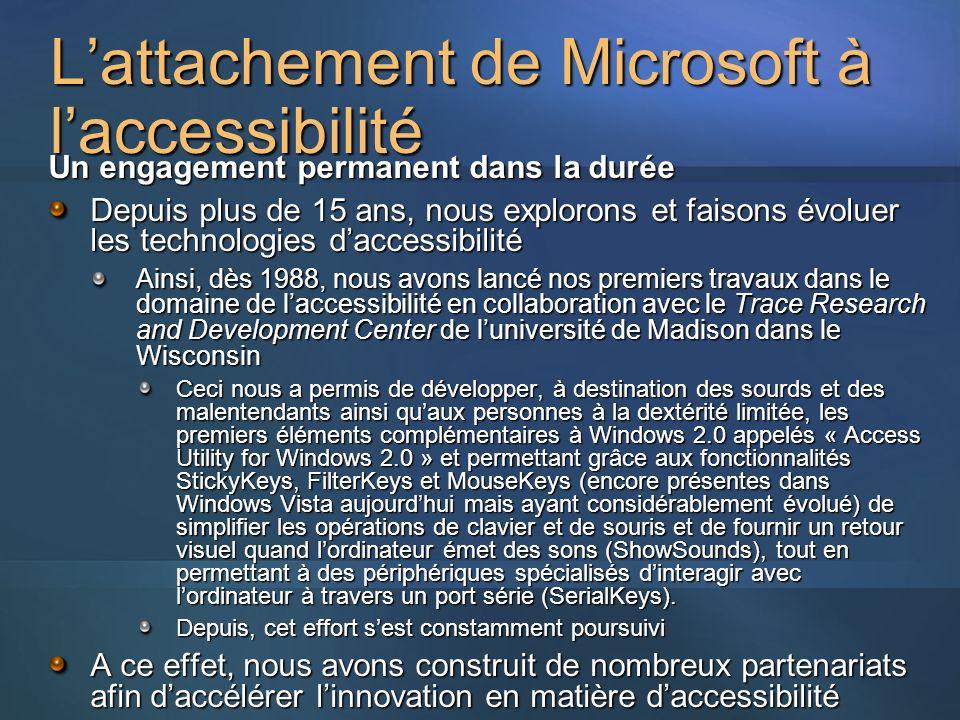 Lattachement de Microsoft à laccessibilité Un engagement permanent dans la durée Depuis plus de 15 ans, nous explorons et faisons évoluer les technologies daccessibilité Ainsi, dès 1988, nous avons lancé nos premiers travaux dans le domaine de laccessibilité en collaboration avec le Trace Research and Development Center de luniversité de Madison dans le Wisconsin Ceci nous a permis de développer, à destination des sourds et des malentendants ainsi quaux personnes à la dextérité limitée, les premiers éléments complémentaires à Windows 2.0 appelés « Access Utility for Windows 2.0 » et permettant grâce aux fonctionnalités StickyKeys, FilterKeys et MouseKeys (encore présentes dans Windows Vista aujourdhui mais ayant considérablement évolué) de simplifier les opérations de clavier et de souris et de fournir un retour visuel quand lordinateur émet des sons (ShowSounds), tout en permettant à des périphériques spécialisés dinteragir avec lordinateur à travers un port série (SerialKeys).