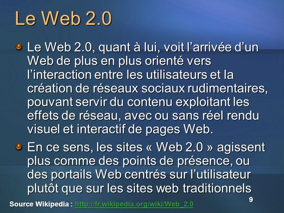 Le Web 2.0 Le Web 2.0, quant à lui, voit larrivée dun Web de plus en plus orienté vers linteraction entre les utilisateurs et la création de réseaux sociaux rudimentaires, pouvant servir du contenu exploitant les effets de réseau, avec ou sans réel rendu visuel et interactif de pages Web.