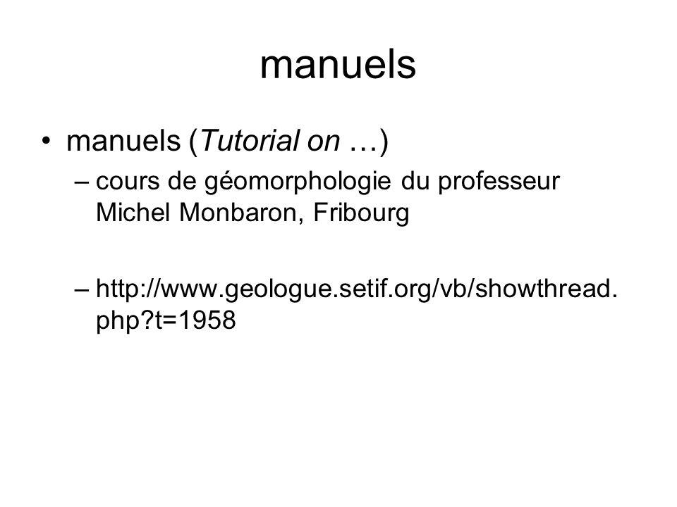 manuels manuels (Tutorial on …) –cours de géomorphologie du professeur Michel Monbaron, Fribourg –http://www.geologue.setif.org/vb/showthread. php?t=1