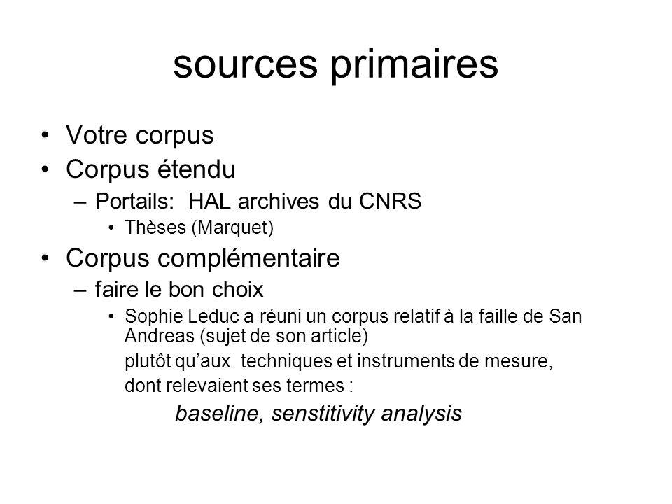 sources primaires Votre corpus Corpus étendu –Portails: HAL archives du CNRS Thèses (Marquet) Corpus complémentaire –faire le bon choix Sophie Leduc a