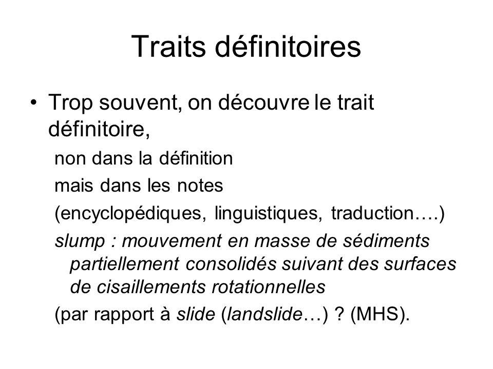 Traits définitoires Trop souvent, on découvre le trait définitoire, non dans la définition mais dans les notes (encyclopédiques, linguistiques, traduc