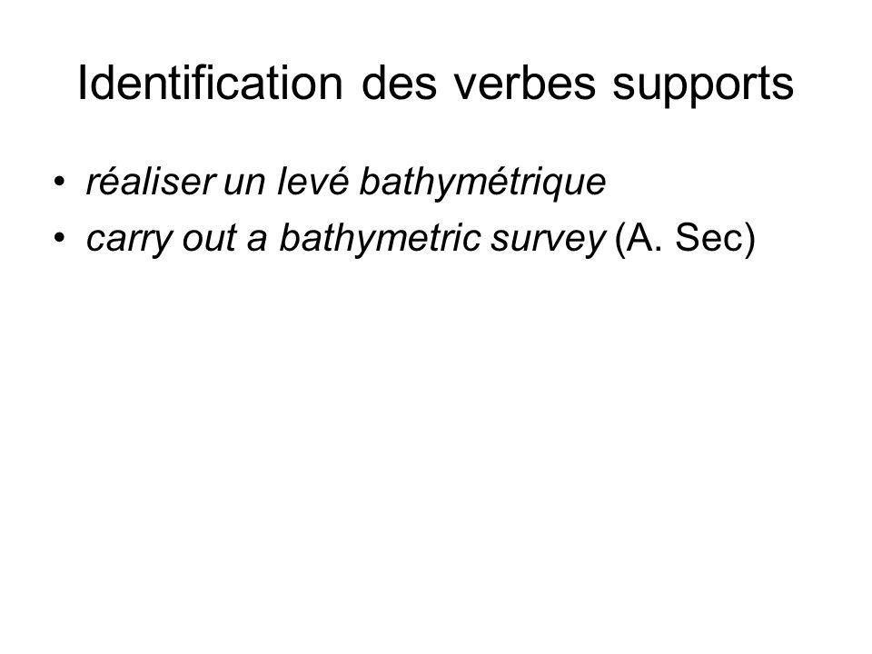 Identification des verbes supports réaliser un levé bathymétrique carry out a bathymetric survey (A. Sec)