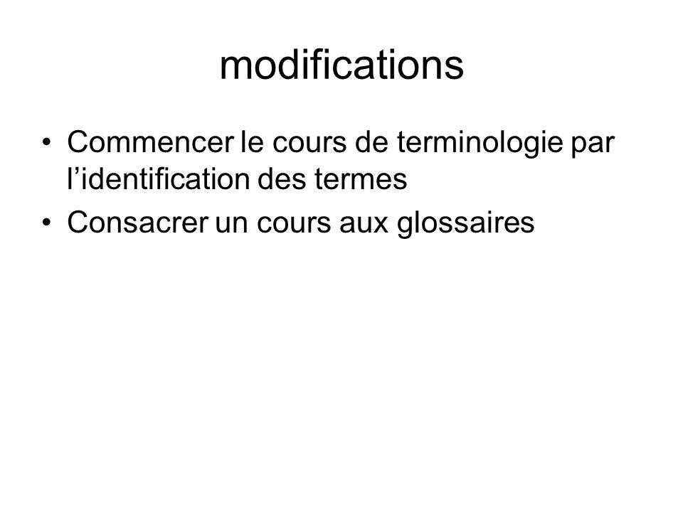 modifications Commencer le cours de terminologie par lidentification des termes Consacrer un cours aux glossaires