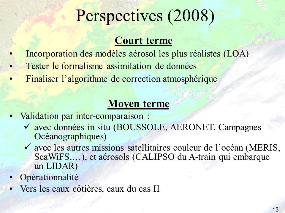 13 Perspectives (2008) Moyen terme Validation par inter-comparaison : avec données in situ (BOUSSOLE, AERONET, Campagnes Océanographiques) avec les au