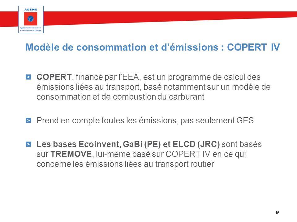 16 Modèle de consommation et démissions : COPERT IV COPERT, financé par lEEA, est un programme de calcul des émissions liées au transport, basé notamm