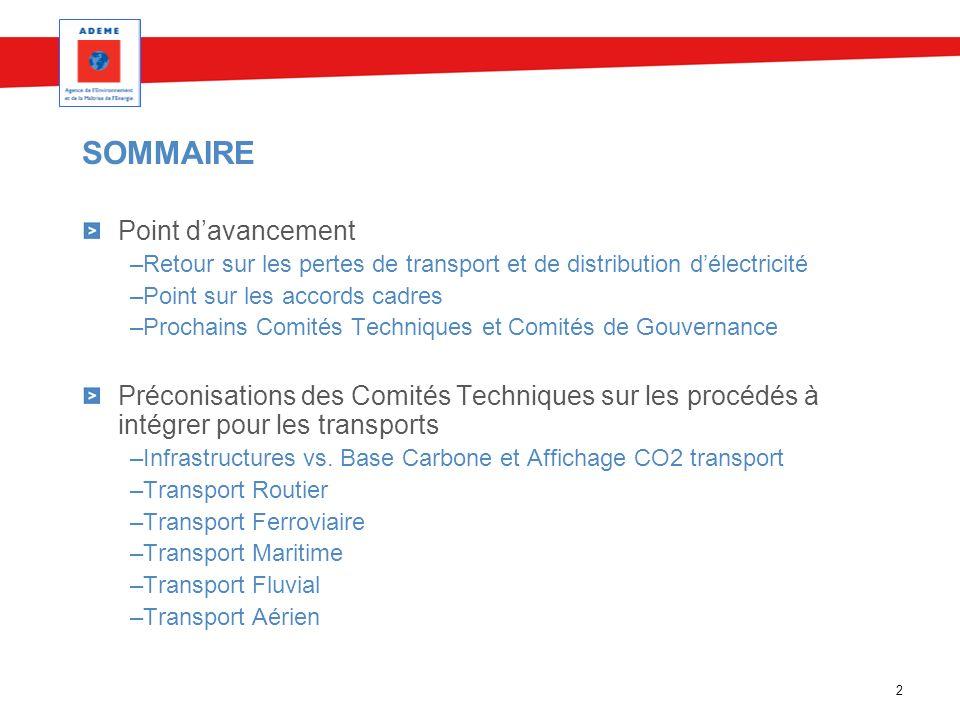 2 SOMMAIRE Point davancement –Retour sur les pertes de transport et de distribution délectricité –Point sur les accords cadres –Prochains Comités Tech