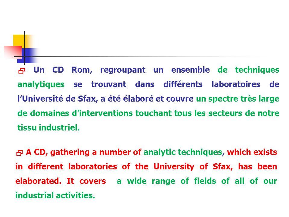 Un CD Rom, regroupant un ensemble de techniques analytiques se trouvant dans différents laboratoires de lUniversité de Sfax, a été élaboré et couvre u