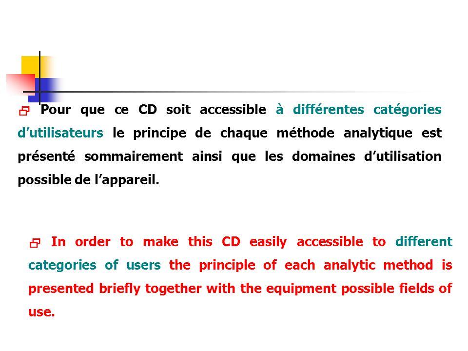 Pour que ce CD soit accessible à différentes catégories dutilisateurs le principe de chaque méthode analytique est présenté sommairement ainsi que les