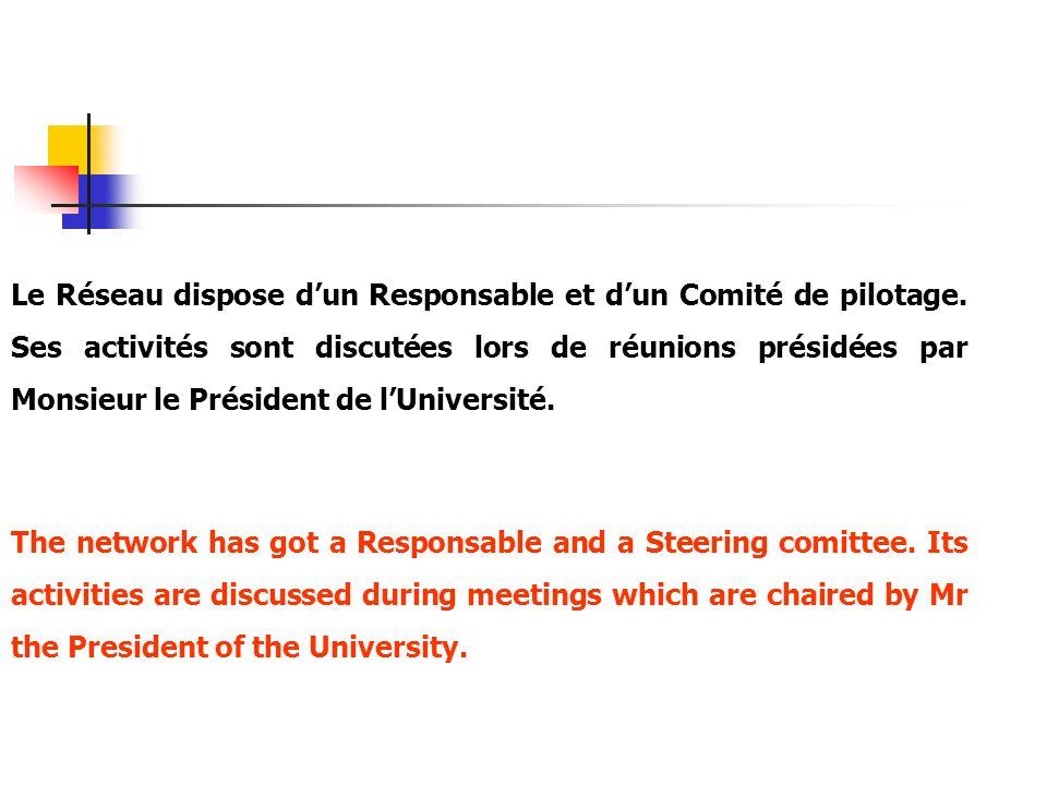 Le Réseau dispose dun Responsable et dun Comité de pilotage. Ses activités sont discutées lors de réunions présidées par Monsieur le Président de lUni
