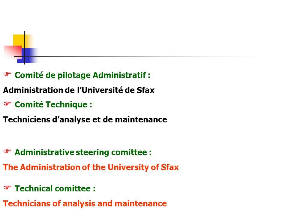 Comité de pilotage Administratif : Administration de lUniversité de Sfax Comité Technique : Techniciens danalyse et de maintenance Administrative stee
