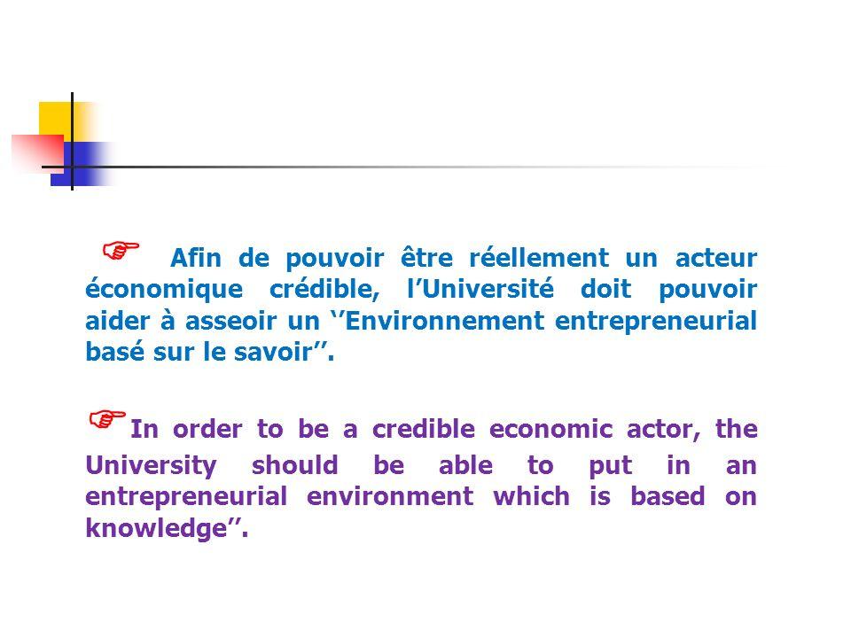 Afin de pouvoir être réellement un acteur économique crédible, lUniversité doit pouvoir aider à asseoir un Environnement entrepreneurial basé sur le s