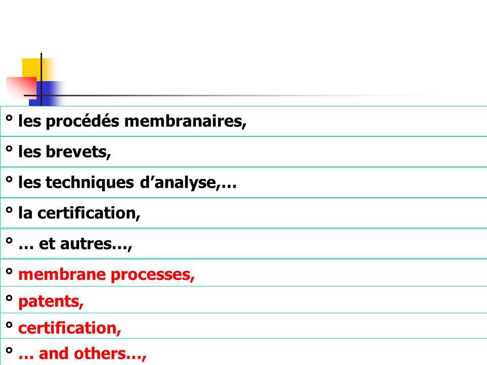 ° les procédés membranaires, ° les brevets, ° les techniques danalyse,… ° la certification, ° … et autres…, ° membrane processes, ° patents, ° certifi