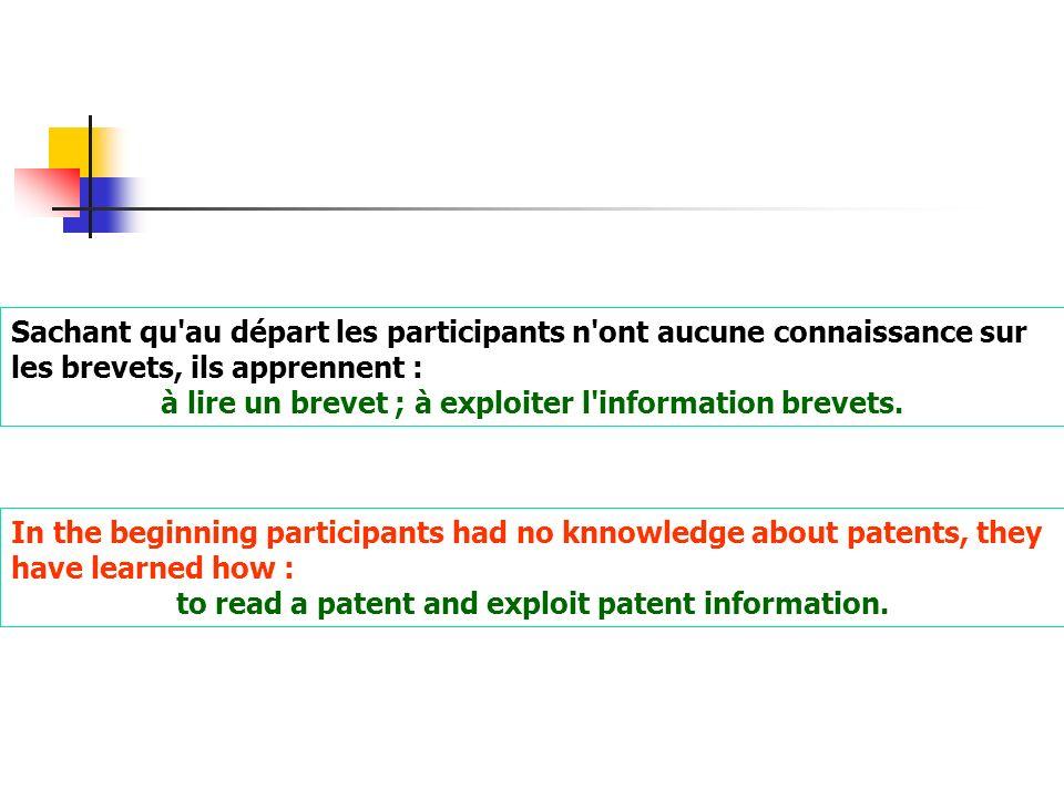 Sachant qu'au départ les participants n'ont aucune connaissance sur les brevets, ils apprennent : à lire un brevet ; à exploiter l'information brevets