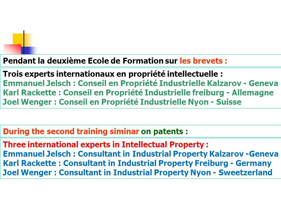 Pendant la deuxième Ecole de Formation sur les brevets : Trois experts internationaux en propriété intellectuelle : Emmanuel Jelsch : Conseil en Propr