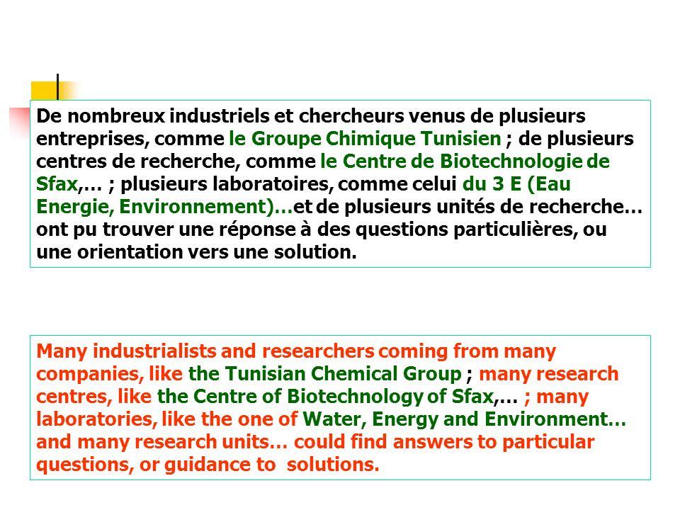 De nombreux industriels et chercheurs venus de plusieurs entreprises, comme le Groupe Chimique Tunisien ; de plusieurs centres de recherche, comme le