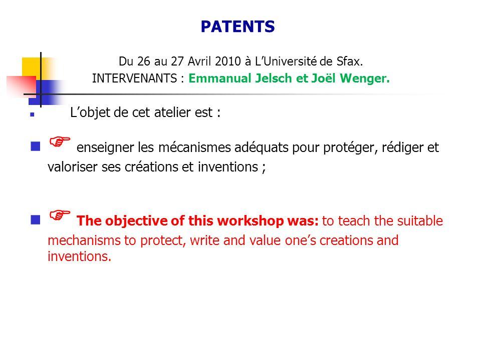 Du 26 au 27 Avril 2010 à LUniversité de Sfax.INTERVENANTS : Emmanual Jelsch et Joël Wenger.